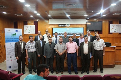 """UCAS participating in a symposium on """"possible means to reinforce collaboration between Palestinian universities and the private sector"""" which organized in the Islamic University-Gaza (IUG) within the EU Tepmus project."""